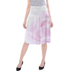 Pink Rose Midi Beach Skirt by Aanygraphic