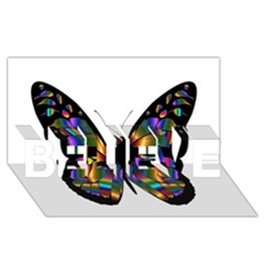 Abstract Animal Art Butterfly BELIEVE 3D Greeting Card (8x4) by Zeze
