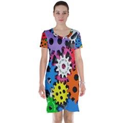 Colorful Toothed Wheels Short Sleeve Nightdress by Zeze