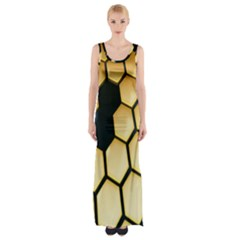 Honeycomb Yellow Rendering Ultra Maxi Thigh Split Dress by AnjaniArt