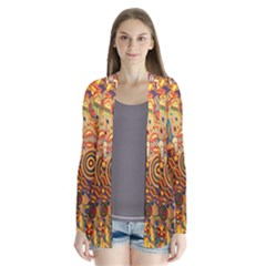 Ethnic Pattern Drape Collar Cardigan by Zeze