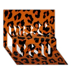 Leopard Patterns Miss You 3d Greeting Card (7x5)