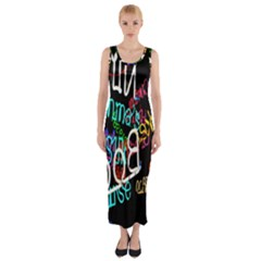 Miami Text Fitted Maxi Dress by AnjaniArt