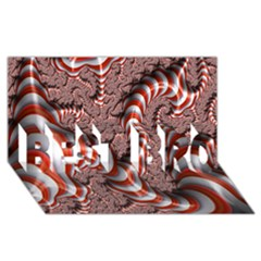Fractal Abstract Red White Stripes BEST BRO 3D Greeting Card (8x4) by Zeze