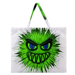 Monster Green Evil Common Zipper Large Tote Bag by Zeze