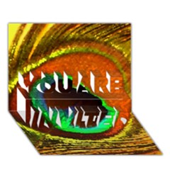 Peacock Feather Eye YOU ARE INVITED 3D Greeting Card (7x5) by Zeze