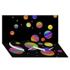 Colorful galaxy Twin Heart Bottom 3D Greeting Card (8x4)