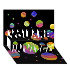 Colorful Galaxy You Are Invited 3d Greeting Card (7x5) by Valentinaart