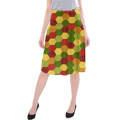 Hexagons In Reds Yellows And Greens Midi Beach Skirt by fashionnarwhal