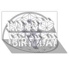 Tree Of Life Flower Of Life Stage Happy Birthday 3D Greeting Card (8x4) by Zeze