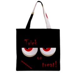 Halloween  trick Or Treat    Monsters Red Eyes Zipper Grocery Tote Bag by Valentinaart