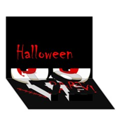 Halloween Party   Red Eyes Monster Love Bottom 3d Greeting Card (7x5) by Valentinaart
