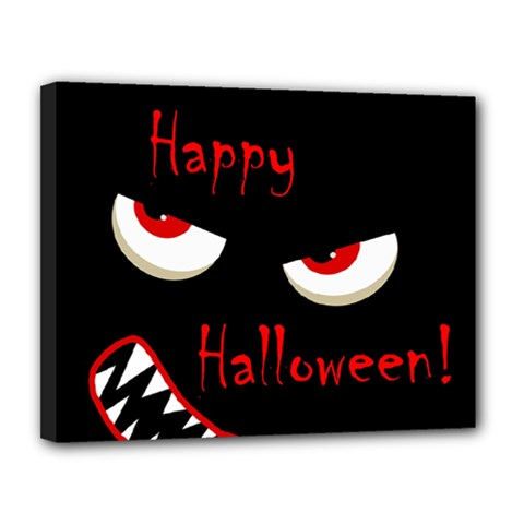 Happy Halloween   Red Eyes Monster Canvas 14  X 11  by Valentinaart