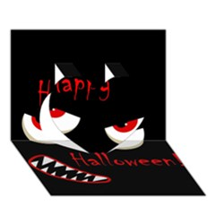 Happy Halloween   Red Eyes Monster Heart 3d Greeting Card (7x5) by Valentinaart