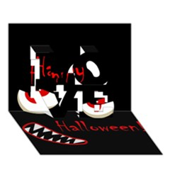 Happy Halloween   Red Eyes Monster Love 3d Greeting Card (7x5) by Valentinaart