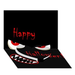 Happy Halloween   Red Eyes Monster Heart Bottom 3d Greeting Card (7x5) by Valentinaart