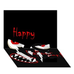Happy Halloween   Red Eyes Monster Love Bottom 3d Greeting Card (7x5) by Valentinaart