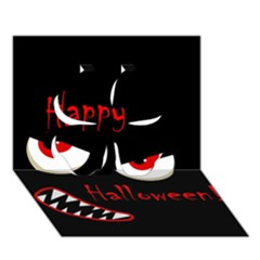 Happy Halloween   Red Eyes Monster Clover 3d Greeting Card (7x5) by Valentinaart