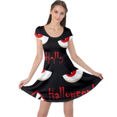 Happy Halloween   Red Eyes Monster Cap Sleeve Dresses by Valentinaart