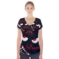 Happy Halloween - red eyes monster Short Sleeve Front Detail Top by Valentinaart