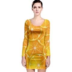 Orange Copy Long Sleeve Bodycon Dress by AnjaniArt