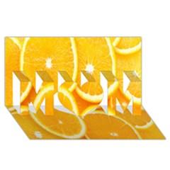 Orange Fruit Mom 3d Greeting Card (8x4) by AnjaniArt