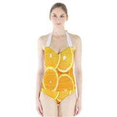 Orange Fruit Halter Swimsuit by AnjaniArt