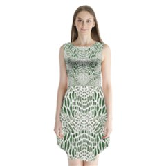 Green Snake Texture Sleeveless Chiffon Dress