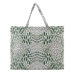 Green Reptile Scales Zipper Large Tote Bag by RespawnLARPer