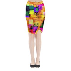 Abstract Squares Background Pattern Midi Wrap Pencil Skirt by Zeze