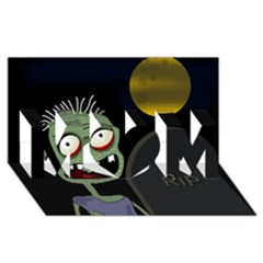 Halloween Zombie On The Cemetery Mom 3d Greeting Card (8x4) by Valentinaart