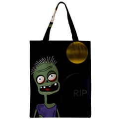 Halloween Zombie On The Cemetery Zipper Classic Tote Bag by Valentinaart