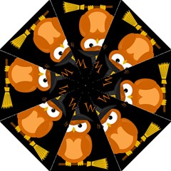 Halloween Witch   Orange Owl Folding Umbrellas by Valentinaart