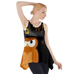 Halloween Witch   Orange Owl Side Drop Tank Tunic by Valentinaart