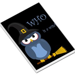Halloween Witch   Blue Owl Large Memo Pads by Valentinaart