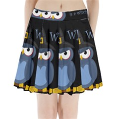 Halloween Witch   Blue Owl Pleated Mini Skirt by Valentinaart