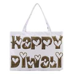 Happy Diwali Greeting Cute Hearts Typography Festival Of Lights Celebration Medium Tote Bag by yoursparklingshop