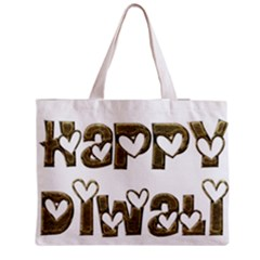Happy Diwali Greeting Cute Hearts Typography Festival Of Lights Celebration Medium Zipper Tote Bag by yoursparklingshop