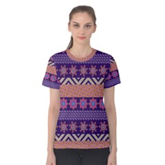 Colorful Winter Pattern Women s Cotton Tee by DanaeStudio