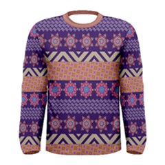 Colorful Winter Pattern Men s Long Sleeve Tee