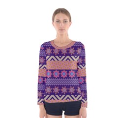 Colorful Winter Pattern Women s Long Sleeve Tee by DanaeStudio