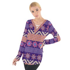 Colorful Winter Pattern Women s Tie Up Tee by DanaeStudio