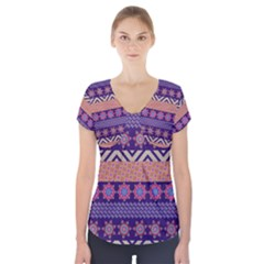 Colorful Winter Pattern Short Sleeve Front Detail Top