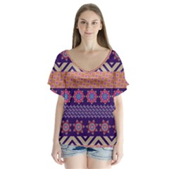 Colorful Winter Pattern V Neck Flutter Sleeve Top by DanaeStudio