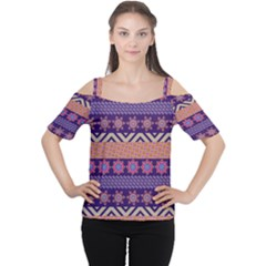 Colorful Winter Pattern Women s Cutout Shoulder Tee by DanaeStudio