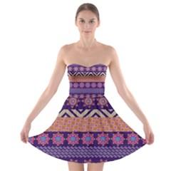 Colorful Winter Pattern Strapless Bra Top Dress by DanaeStudio