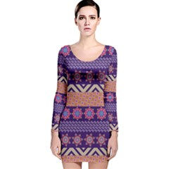 Colorful Winter Pattern Long Sleeve Velvet Bodycon Dress by DanaeStudio