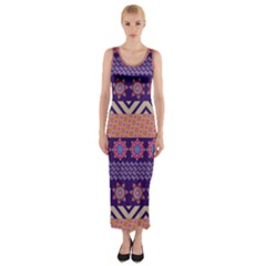 Colorful Winter Pattern Fitted Maxi Dress by DanaeStudio
