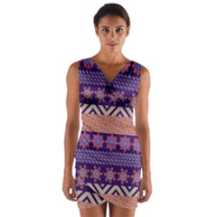 Colorful Winter Pattern Wrap Front Bodycon Dress