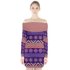 Colorful Winter Pattern Long Sleeve Off Shoulder Dress by DanaeStudio